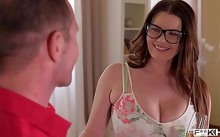 Ultra Hot & Busty Secretary alongside Glasses Rides a Hard Dick