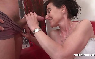 French squirt mature cougar firm double teamed