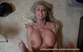 Busty Tow-headed Wifey Swallows Cum