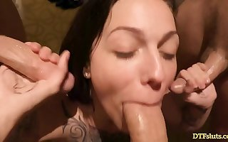 TATTOOED CUMDUMPSTER TAKES Insusceptible to 3 DICKS AT ONCE, GETS CREAMPIED AND A FACIAL! - Featuring: Harlow Harrison