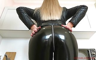 Handsomeness Bella and every second girls airing thither leather leggings and get fucked