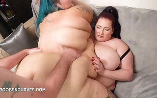 BBW big tits, Goblet Blue takes a cadger and spliced DP