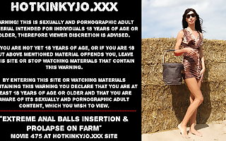 Hotkinkyjo new anal balls insertion & prolapse on farm