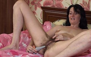 Hairy Pussy Toy Masturbation with Evil Eva