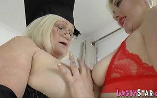 Mature lesbian headmistress rims ass