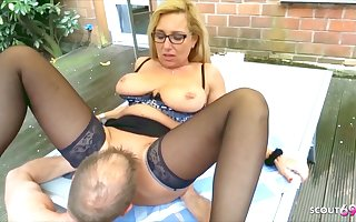 German Mature Wife Has Cheating Making love In The Garden With The Neighbor