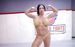 London Tributary fighting Brandi Mae in lesbian wrestling with face sitting and a hard strapon fuck