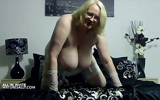 British Grown-up wife in white underwear is displaying huge tits