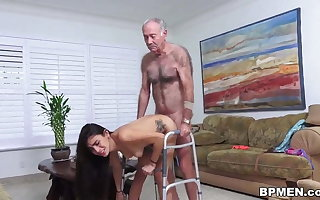 Kinky age-old tramp licks and fucks lovely Michelle Martinez