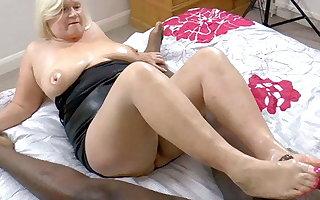 GRANNYLOVESBLACK - Grandma Strokes Lubed Cock Close to Feet