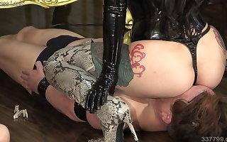 Japanese Femdom, Youko Facesitting Two Masochistic Slaves