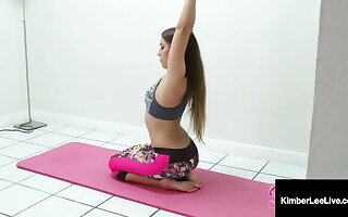 Naked Yoga Nympho Kimber Lee Gives Hot JOI While Stretching!