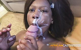 Real Black African Amateur Taking A Facial like A champ
