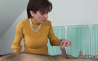 Adulterous english grown-up lady sonia shows the brush huge melons
