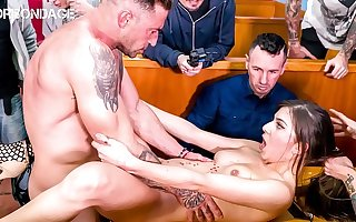 FORBONDAGE - Romanian Teen Anya Krey Has Sex In A Public Restaurant With A BDSM Group Torture Bunch