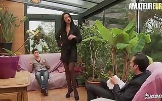 AMATEUR EURO - This Busty Perk up MILF Ania Kinski Gets DP From French Hubby & Stepson
