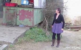 German Redhead Granny enjoys a Countryside Pounding