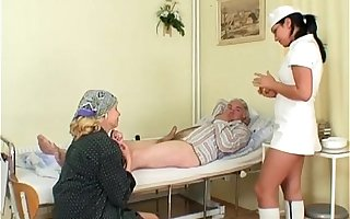 Naughty Hot Nurse Helps Old Patient To Accompaniment